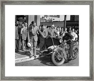 Motorcycle Ambulance Vintage Pick Up Framed Print