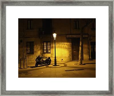 Motorcycle By Lamplight In Barcelona Framed Print by Madeline Ellis