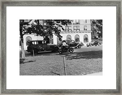 Motorcycle Cop Framed Print by Underwood Archives
