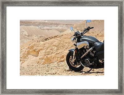 Motorcycle In A Desert Framed Print