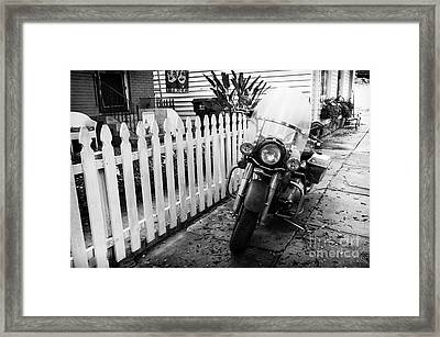 Motorcycle In The Garden District Mono Framed Print