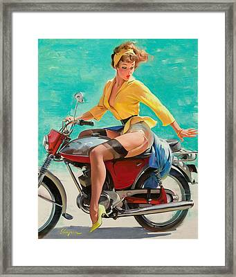 Motorcycle Pinup Girl Framed Print