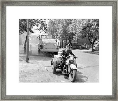 Motorcycle Police Vintage Clean Up Framed Print by Retro Images Archive