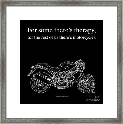 Motorcycle Quote 1 - Ducati Monster Framed Print by Pablo Franchi