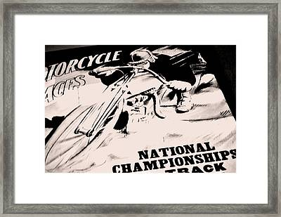 Motorcycle Races Poster Framed Print