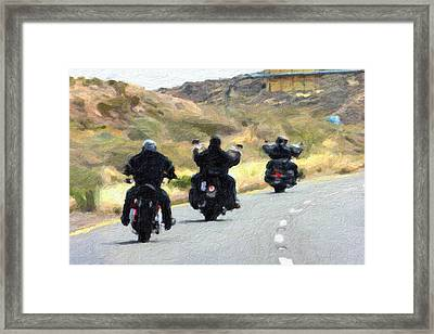 Motorcycle Road Trip  Framed Print by Gravityx9  Designs