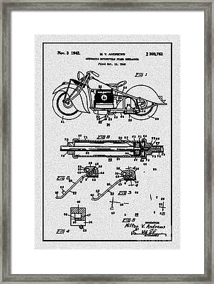 Motorcycle Stand Gray Framed Print