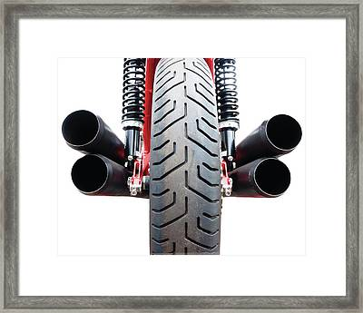 Motorcycle Wheel And Exhaust Pipes Framed Print by Linda Wright