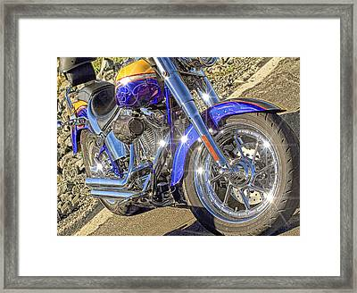 Motorcycle Without Blue Frame Framed Print by Geraldine Scull