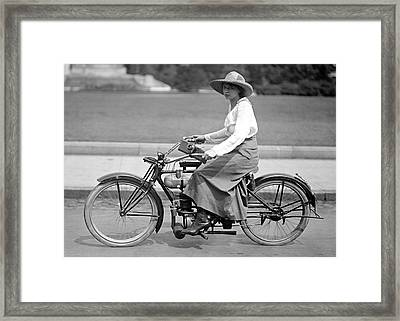 Motorcycle Woman C. 1917 Framed Print by Daniel Hagerman