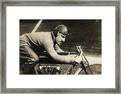 Motorcyclist Andre Grapperon Framed Print