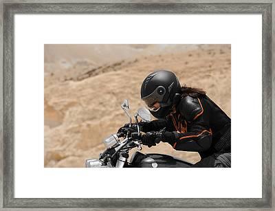Motorcyclist In A Desert Framed Print