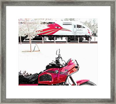 Motorcyle And Train Framed Print by Britt Runyon