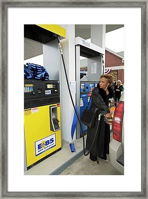 Motorist Using Ethanol Fuel Framed Print