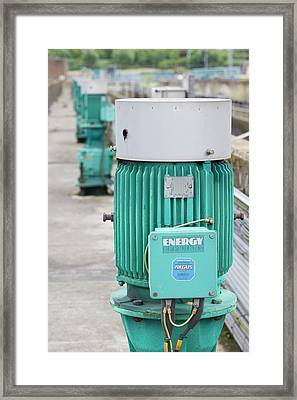 Motors At A Sewage Plant Framed Print by Ashley Cooper
