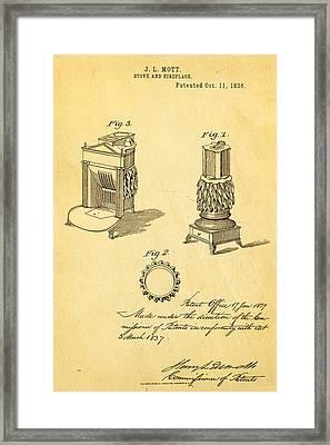 Mott Stove Patent Art 1836 Framed Print