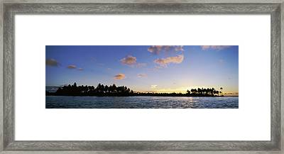 Motus At Sunset, Bora Bora, Society Framed Print by Panoramic Images