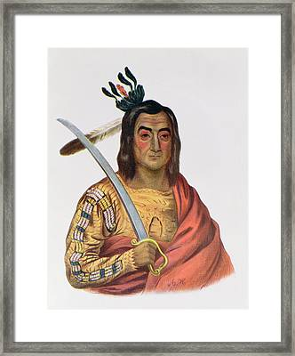 Mou-ka-ush-ka Or The Trembling Earth, A Yankton Sioux Chief, Illustration From The Indian Tribes Framed Print