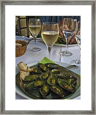 Moules And Chardonnay Framed Print