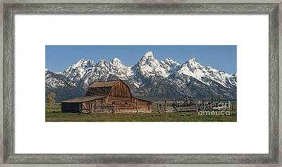 Moulton Barn - Grand Tetons I Framed Print by Sandra Bronstein