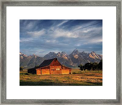 Moulton Barn Morning Light Framed Print by Leland D Howard