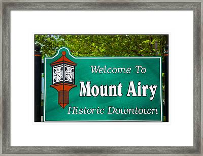 Mount Airy Sign Nc Framed Print by Bob Pardue