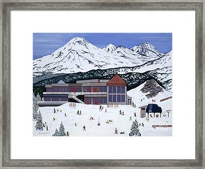 Framed Print featuring the painting Mount Bachelor by Jennifer Lake