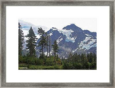 Framed Print featuring the photograph Mount Baker And Fir Trees And Glaciers And Fog by Tom Janca