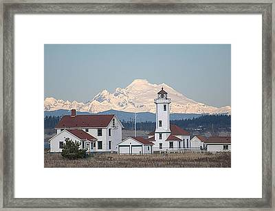 Mount Baker And Point Wilson Light Station Framed Print