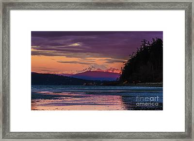 Mount Baker Tideflats Sunset Alpenglow Reflection Framed Print by Mike Reid