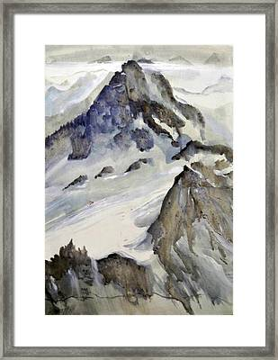 Framed Print featuring the painting Mount Blanc by Ed  Heaton