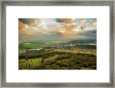 Mount Carmel With Glowing Clouds Framed Print by Reynold Mainse