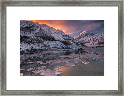Mount Cook And Mueller Lake In Mount Framed Print by Colin Monteath