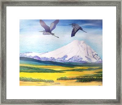 Mount Elbrus Watching Blue Herons Fly Over Sunflower Fields Framed Print