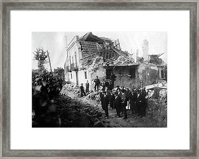 Mount Etna Earthquake Damage Framed Print by Library Of Congress