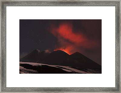 Mount Etna Erupting At Night, 2012 Framed Print by Science Photo Library