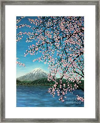 Mount Fuji Cherry Blossoms Framed Print by Sheena Kohlmeyer