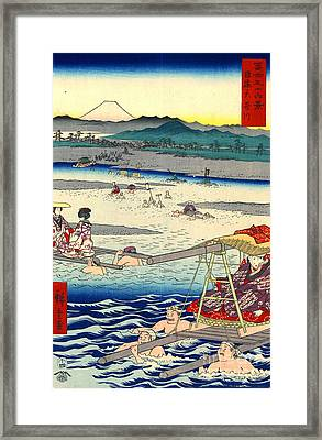 Mount Fuji From Oi River 1858 Framed Print