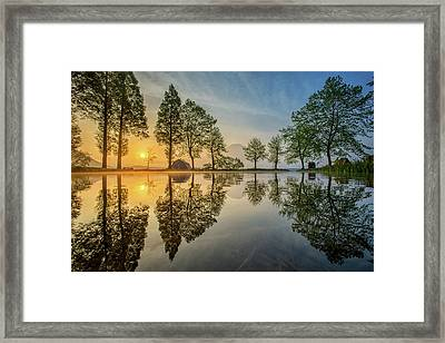 Mount Fuji Reflected In Lake , Japan Framed Print