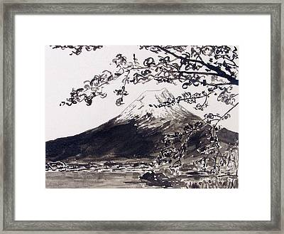 Mount Fuji Spring Blossoms Framed Print by Kevin Croitz