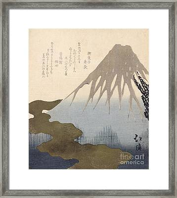 Mount Fuji Under The Snow Framed Print by Toyota Hokkei