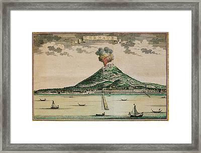 Mount Gamalama Volcano Erupting Framed Print by George Bernard/science Photo Library