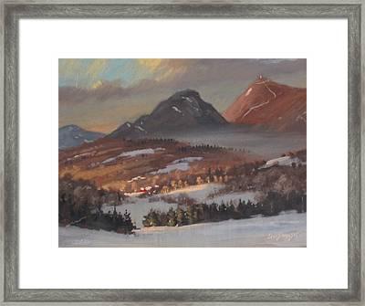 Framed Print featuring the painting Mount Greylock From Clarksburg by Len Stomski