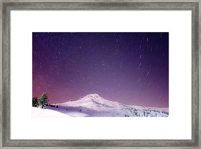 Mount Hood And Stars Framed Print by Darren  White