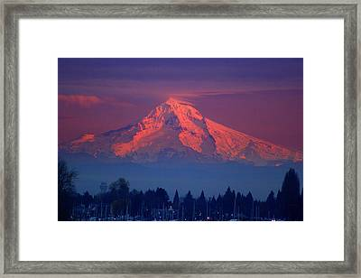 Mount Hood At Sunset Framed Print by DerekTXFactor Creative