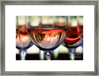 Mount Hood In A Wine Glass Framed Print by Cari Gesch