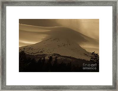 Mount Hood In The Clouds Framed Print by Cari Gesch
