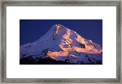 Mount Hood Last Light Framed Print by Darren  White