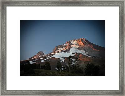Mount Hood Summit In Warm Glow Framed Print