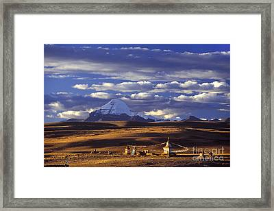 Mount Kailash And Chiu Gompa - Tibet Framed Print